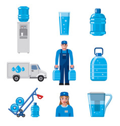 Water delivery service icons vector