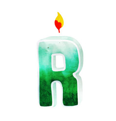 Watercolor happy birthday letter r candle vector