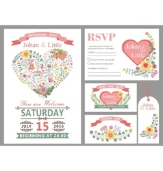Wedding design template setFloral heart decor vector image