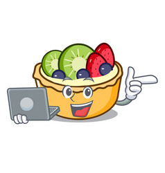 With laptop fruit tart character cartoon vector