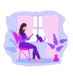 work at home freelance girl works on a vector image