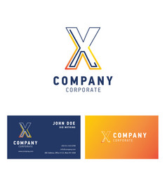 x company logo design with visiting card vector image