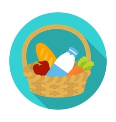 Basket with products icon in flat style isolated vector