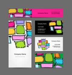 business card collection vintage frames design vector image