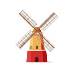 mill flat cartoon windmill vector image vector image