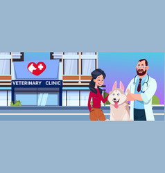 happy woman with dog and vet doctor over vector image