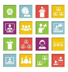 Meet People Online Icons Set vector image