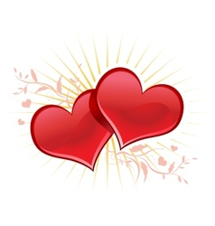 Valentine background wiht two hearts vector image