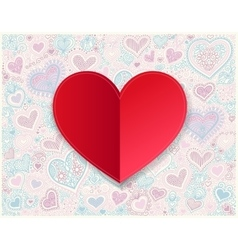 Valentines day red paper hand drawing on heart vector image vector image