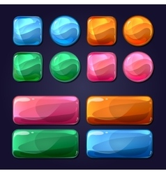 cartoon glass buttons for game user vector image