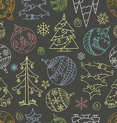 Christmas doodle elements seamless background vector image