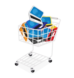 Six Colors of Laptop Computer in Shopping Cart vector image vector image