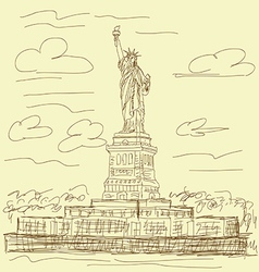 statue of liberty vintage vector image vector image