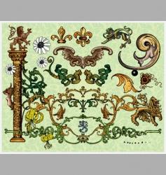 antique decoration elements vector image