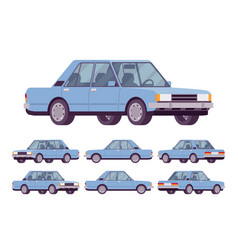 blue sedan set vector image