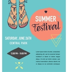 Bohemian summer event poster boho style vector image vector image