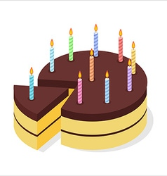 Chocolate cake birthday Festive candles on pie vector image