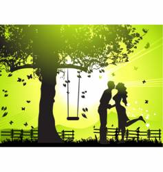 couple at sunset vector image vector image