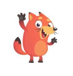 cute funny fox mascot waving hand vector image