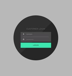 Dark customer login form in simple style vector