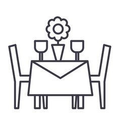 Restaurant table with chairs line icon vector