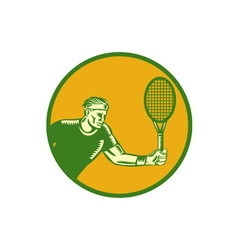 Tennis Player Forehand Circle Woodcut vector image