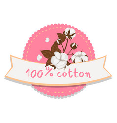 100 percent cotton logo isolated on white vector