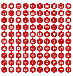 100 show business icons hexagon red vector