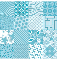 16 patterns of square tiles vector image