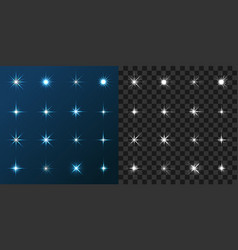 16 star set on blue and gray background vector image
