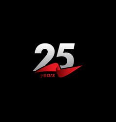 25 years anniversary celebration white black red vector