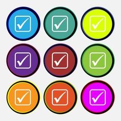 A check mark icon sign Nine multi colored round vector image