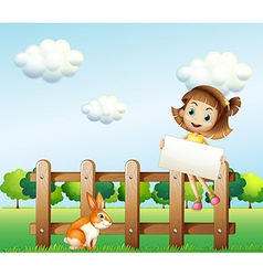 A girl sitting on a wooden fence holding an empty vector image