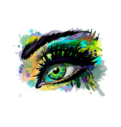 Abstract beautiful female eye from a splash of vector