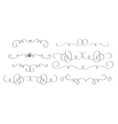 art calligraphy set of vintage decorative whorls vector image