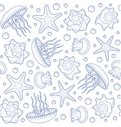 background with starfish seashells and jellyfish vector image