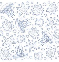 Background with starfish seashells and jellyfish vector