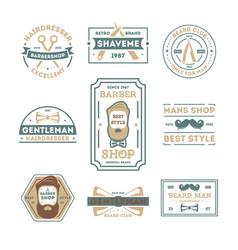 barber shop vintage isolated label set vector image