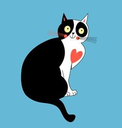 Beautiful love cat with a red heart vector image