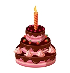 Birthday cake with candle icon isometric 3d style vector