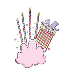 Birthday gift box and candles on cloud vector