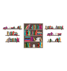 book on shelf bookshelf with books in library vector image