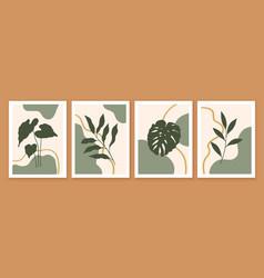 Botanical and abstract shapes wall art design vector