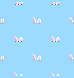 Bunny ears looks out hole rabbit child vector