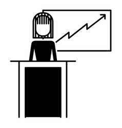 businesswoman podium presentation board diagram vector image