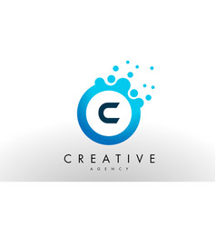 c letter logo blue dots bubble design vector image vector image