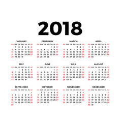 calendar for 2018 vector image
