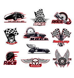Car race motor racing icons set vector