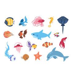 Cartoon sea animals funny tropic underwater vector