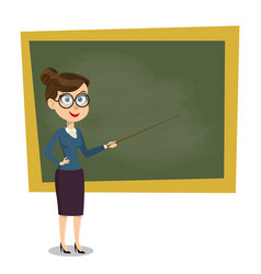 Cartoon smiling female teacher with pointer vector